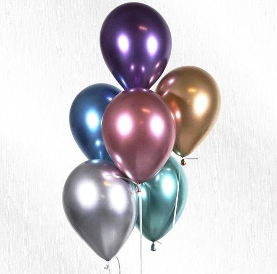 "11"" Qualatex Plain Latex Balloon - Round Chrome Silver"