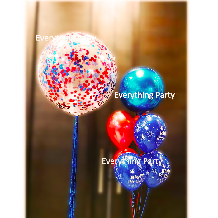 3ft Jumbo Confetti Helium Balloon And Orbz Solid Bouquet