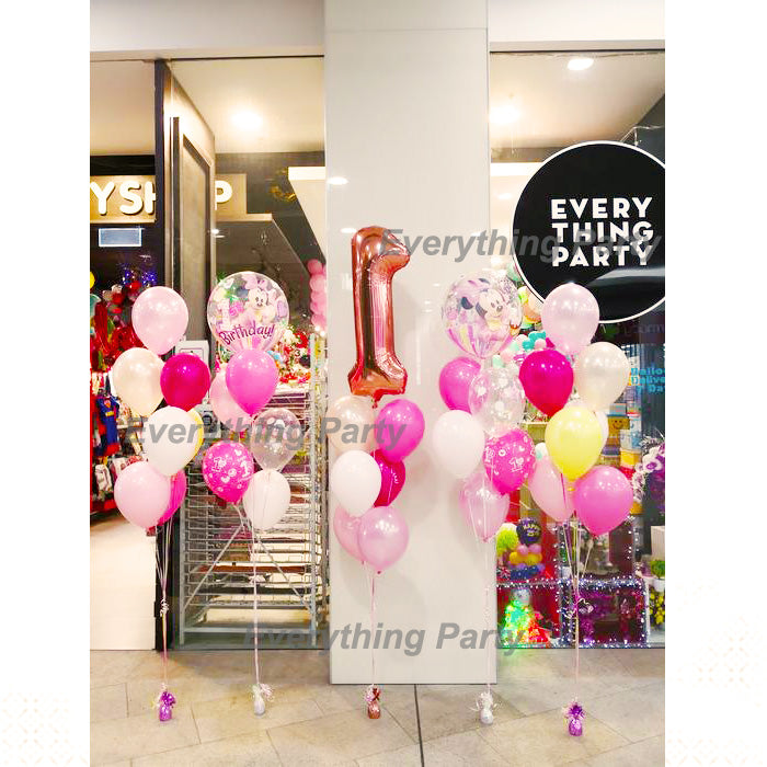 1st Birthday Girl Minnie Mouse Helium Balloon Bouquet Everything Party