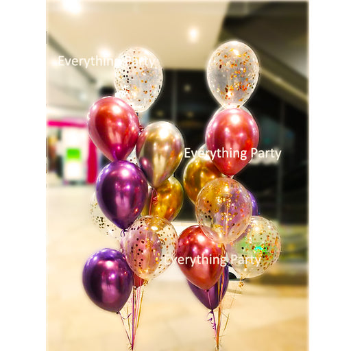 Chrome latex helium balloon and Rose gold confetti balloon bouquet