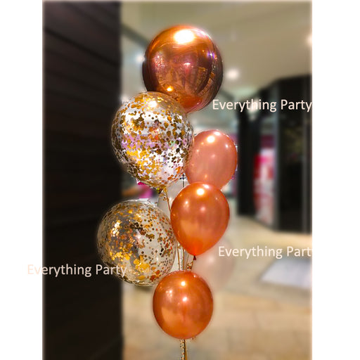 Rose gold round Orbz foil balloon, rose gold confetti balloon bouquet