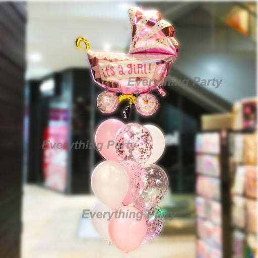 Baby Shower, Baby girl helium balloon arrangement