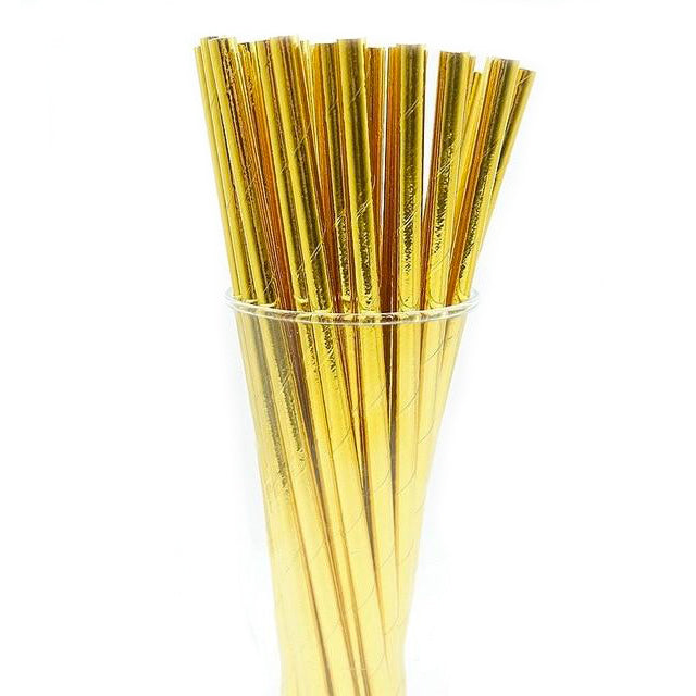 metallic gold paper straws