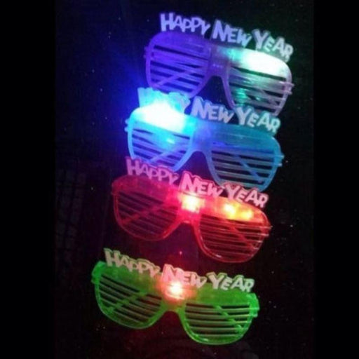 happy new year flashing glasses