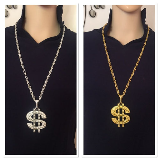 dollar sign necklace, 1980's party necklace