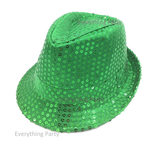 green disco sequin hat