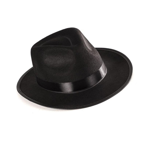 1920's Gangster Black Felt Hat,Accessories - Everything Party
