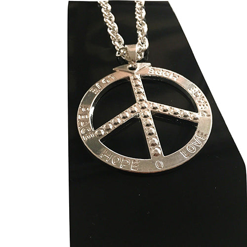 silver peace sign necklace, silver hippie necklace