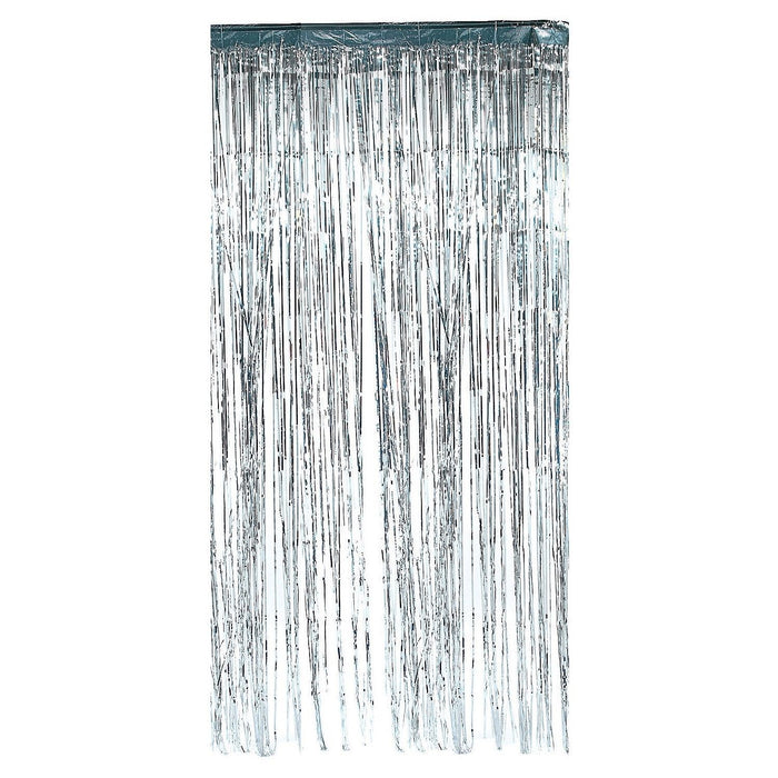 silver metallic door curtain
