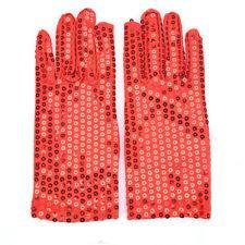 Sequin Glove - Silver & Red