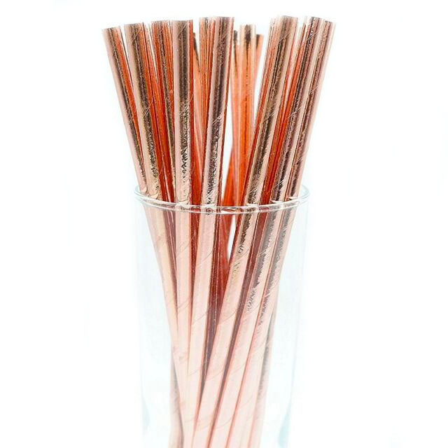 Rose gold paper straws, rose gold straws