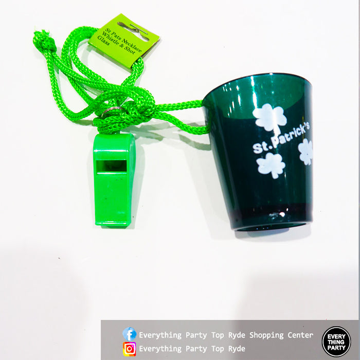 St Patrick's Day Shot Glass and Whistle on String