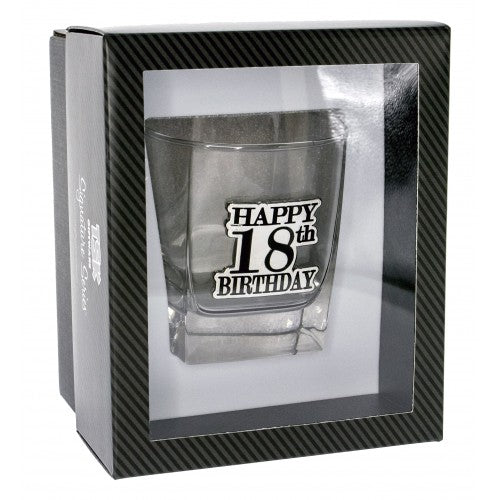 18th Birthday Badge Premium Scotch Glass