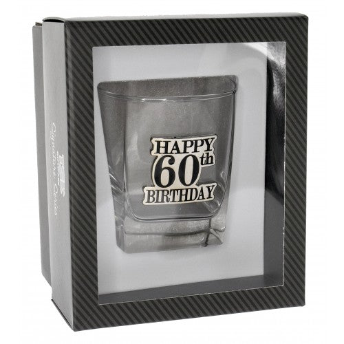 60th Birthday Badge Premium Scotch Glass