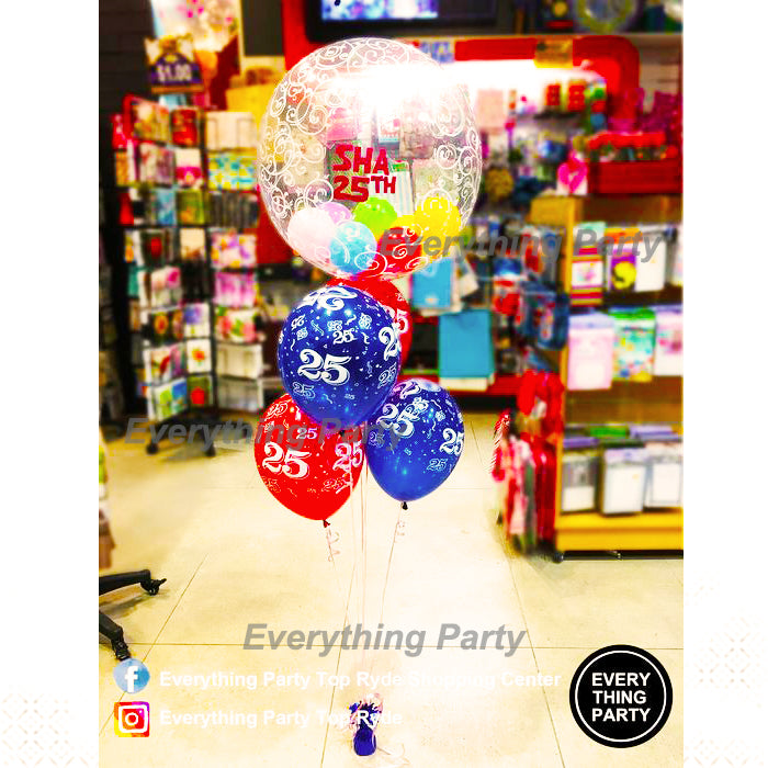 25th birthday helium balloon arrangement