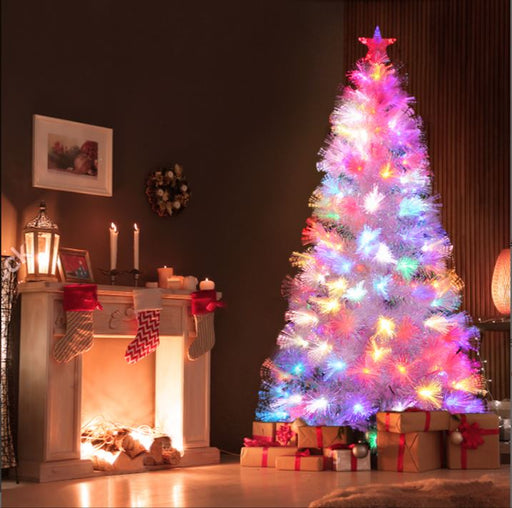 White Fibre Optic Flashing LED Light Christmas Tree