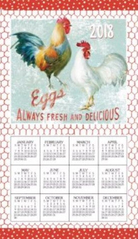 2018 rooster kitchen towel calendar