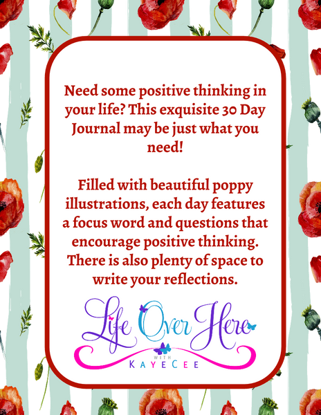 30 Day Journal of Positive Thoughts Featuring Poppy Flower Artwork