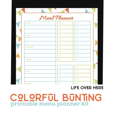 Printable Menu Kit - Colorful Bunting
