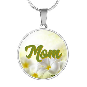Floral Mom Necklace - Can Be Engraved On Back