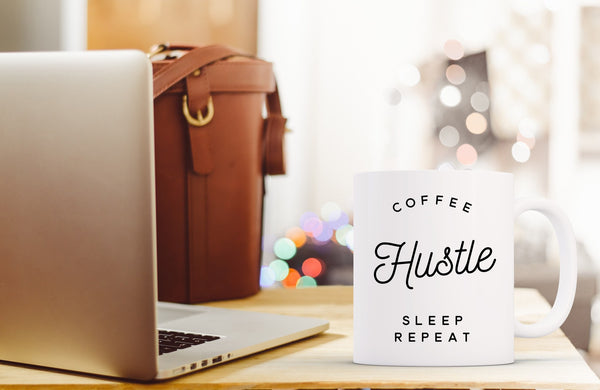 Coffee Hustle Sleep Repeat - White Mug On Desk