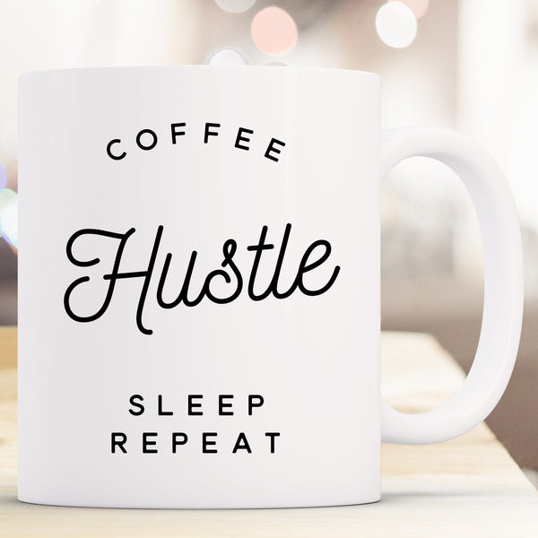 Coffee Hustle Sleep Repeat - White Mug Thumb