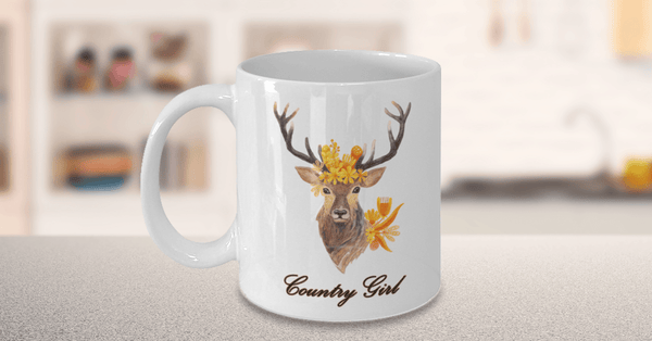 coffee mug for women hunters on counter