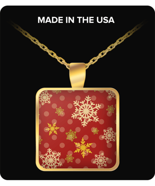 Red and Gold Snowflake Necklace