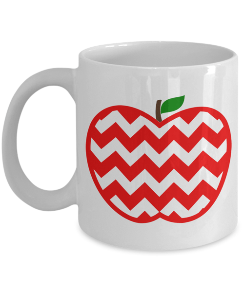 red and white chevron coffee mug for teachers or doctors