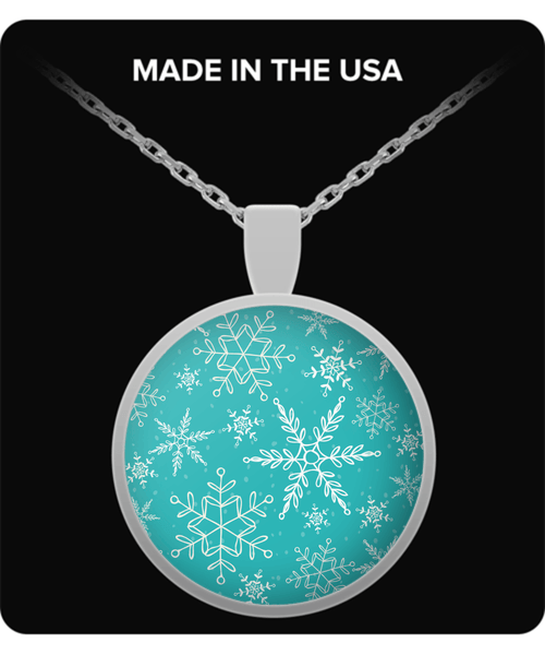 Snowflakes On Blue Necklace