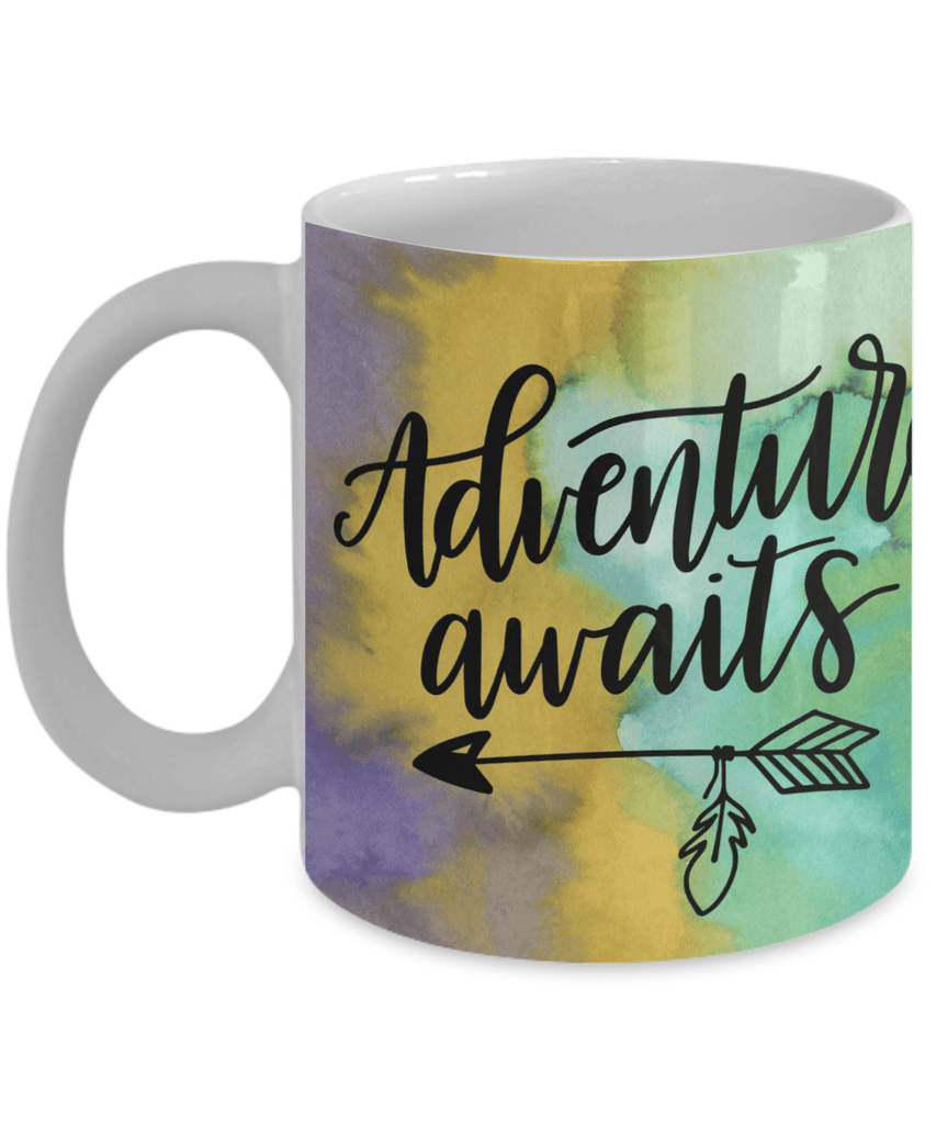 Inspirational Coffee Mugs: Adventure Awaits - Watercolor Background