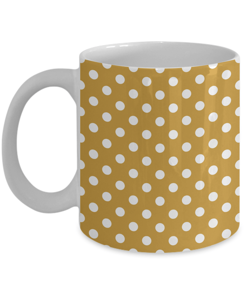 Large Cute Novelty Glass Coffee Mugs - Yellow With White Polka Dots