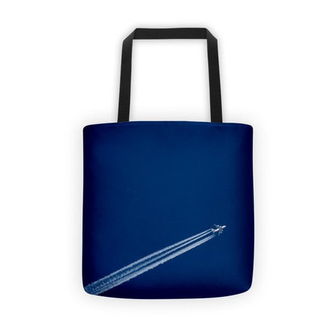 Airplane Against A Blue Sky Tote bag