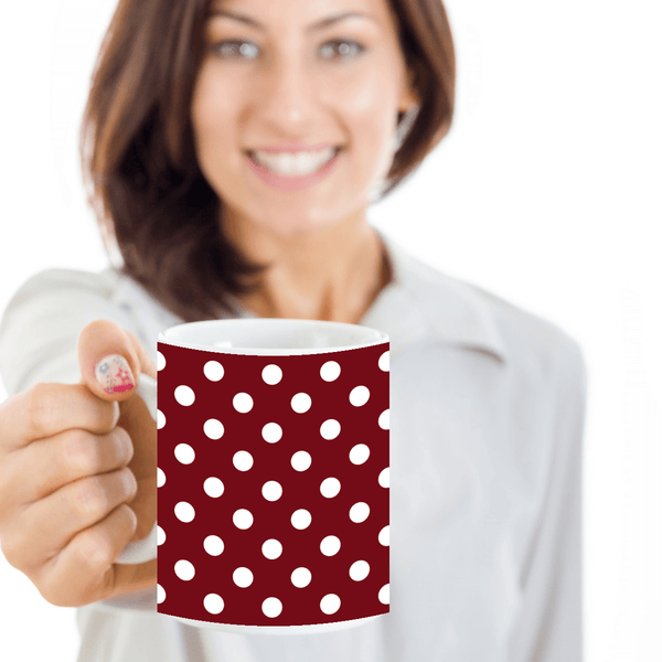 Large Cute Novelty Glass Coffee Mugs with Polka Dots