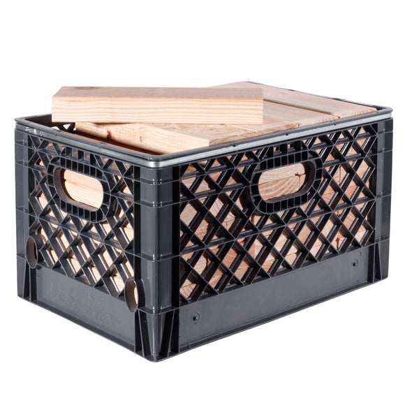 RECTANGULAR MILK CRATE WITH 35 PIECES OF 2