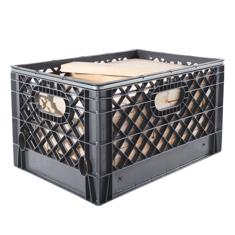 "Rectangular Milk Crate with 70 Pieces of 1"" x 3"" Cribbing"