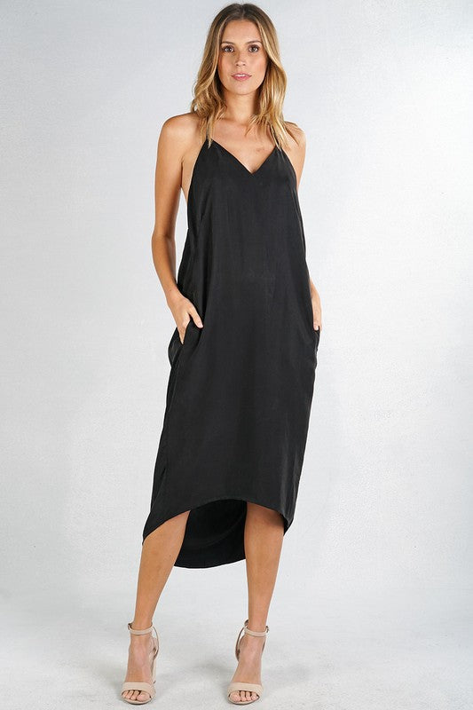 mode, hi low halter dress