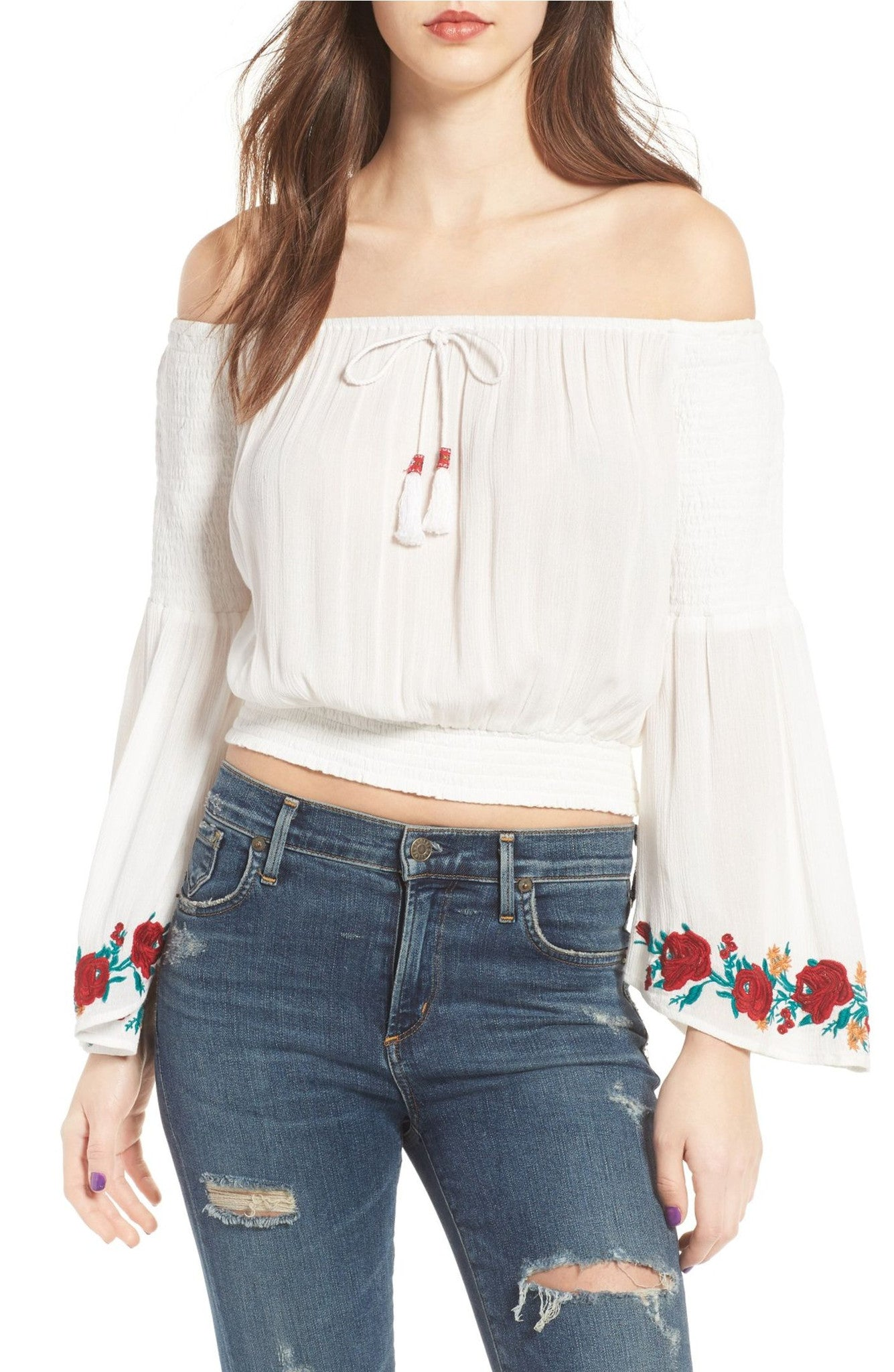 Maria embroidered bell slv top