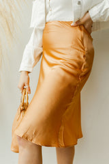 mode, almond satin skirt