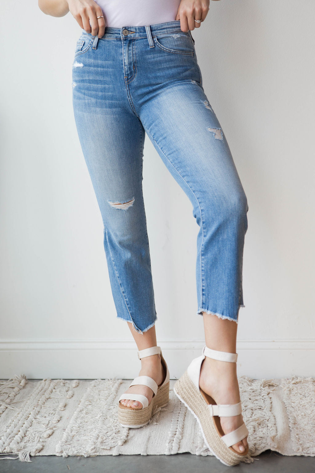 mode, high rise uneven hem crop flare