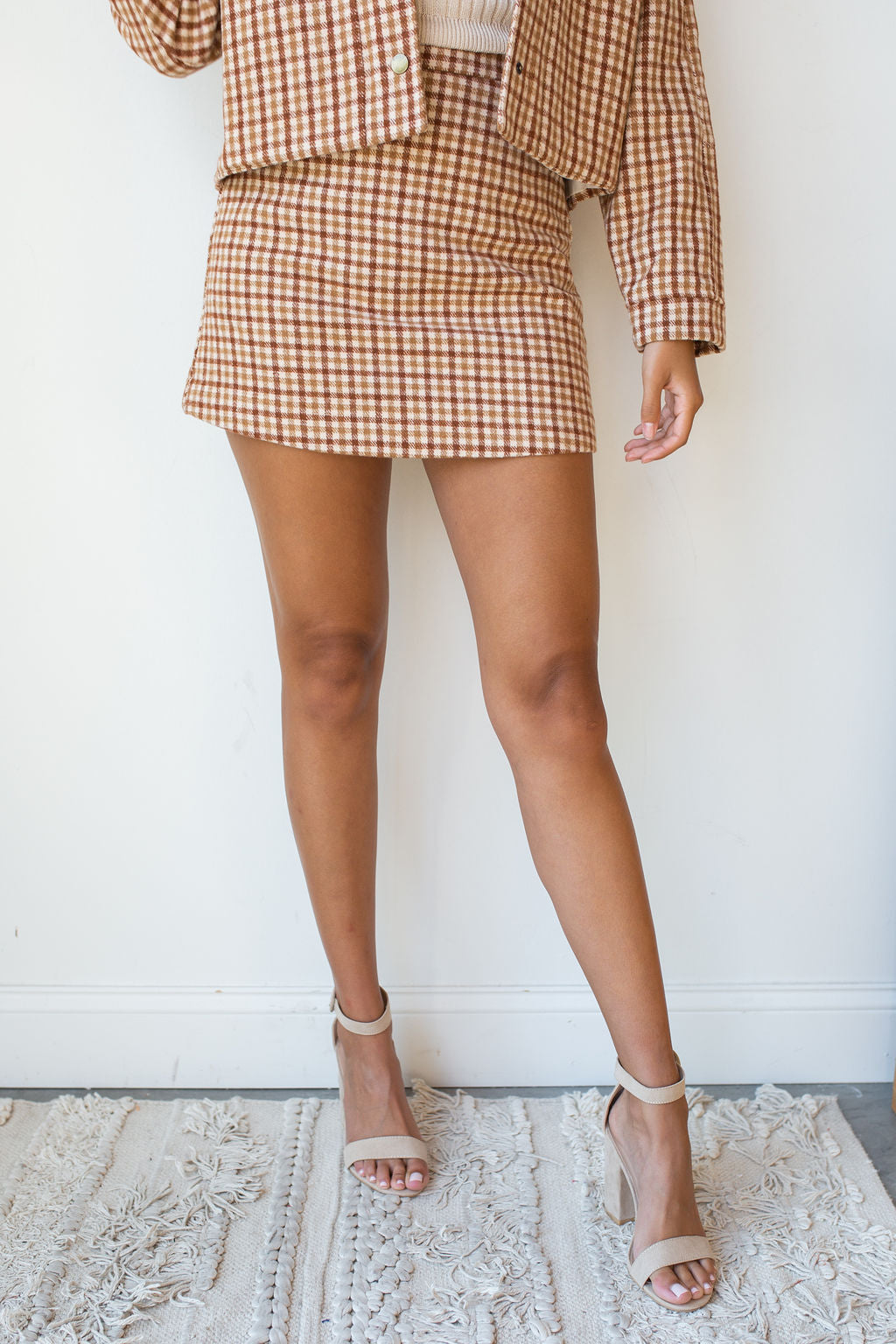 mode, greenwhich check skirt