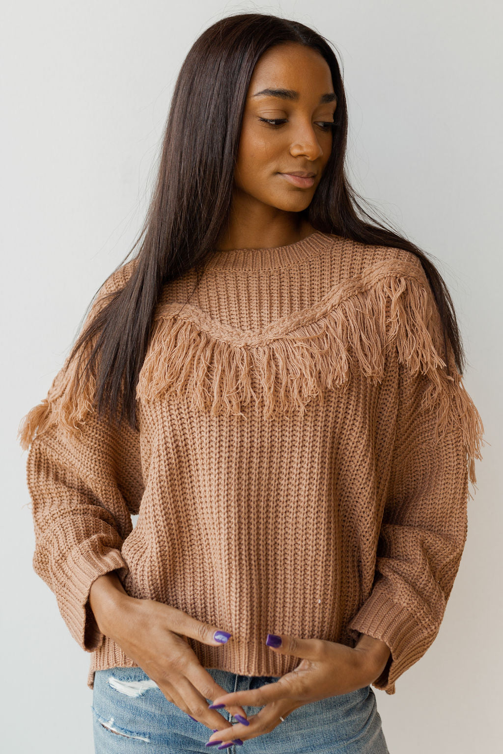 mode, fringe favorite sweater