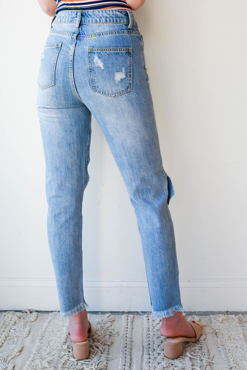 mode, can't wait distressed denim