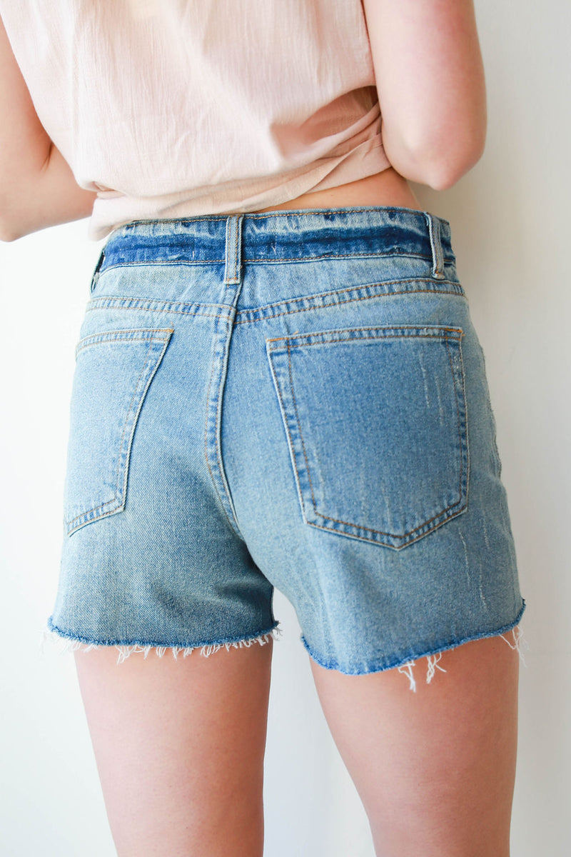 mode, in the clear destroyed denim shorts