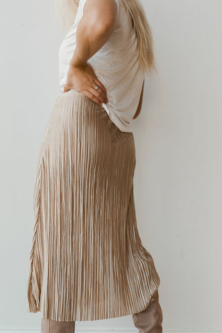 mode, foiled pleats skirt