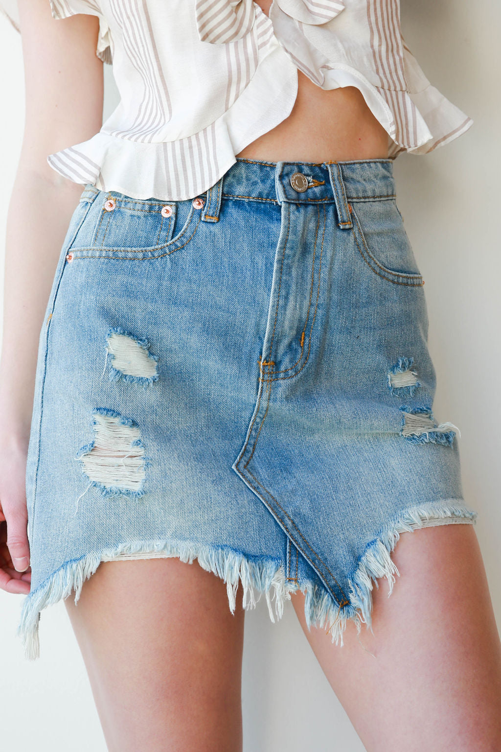 mode, unbalanced denim skirt
