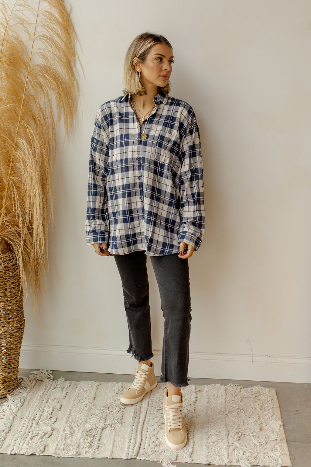 button back boyfriend plaid