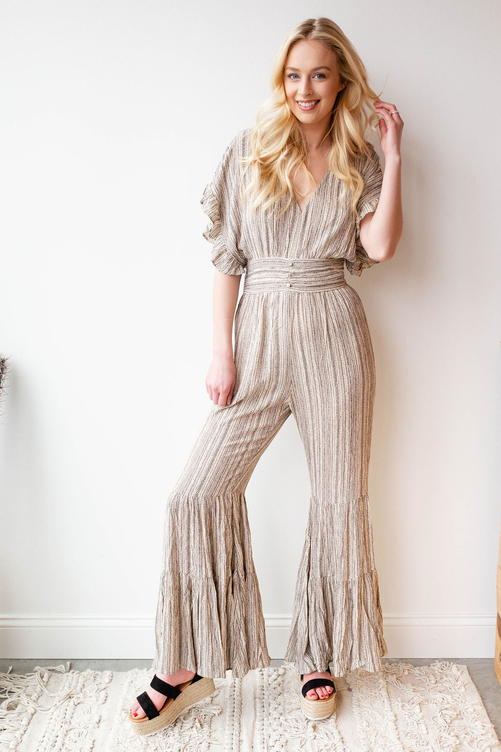 mode, bentley flare jumpsuit