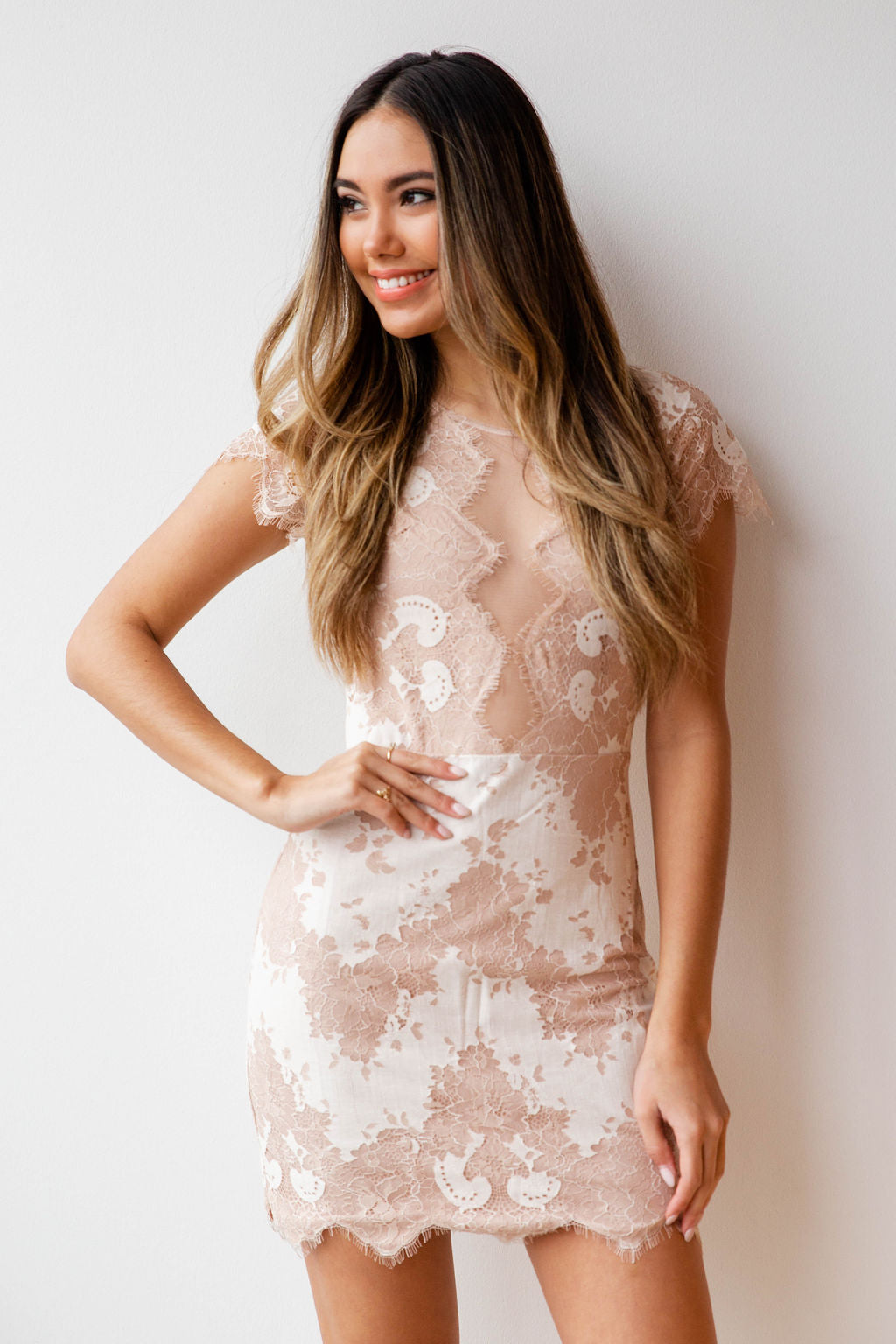 mode, neutral obsession lace dress