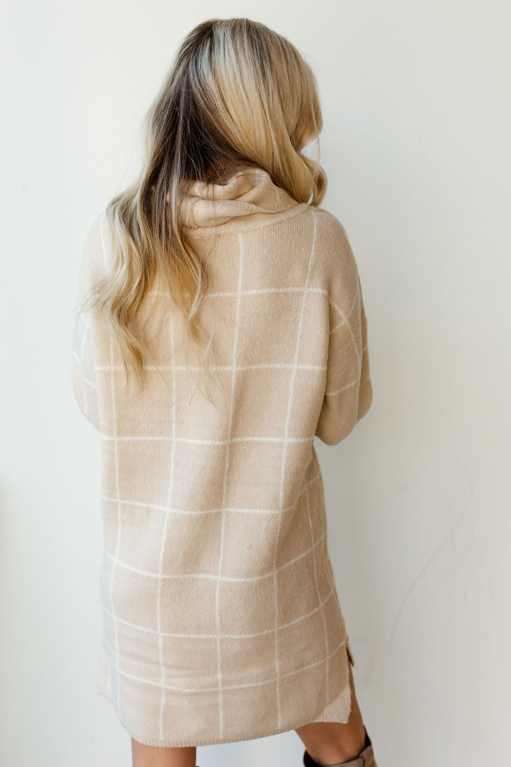 mode, around the table grid sweater dress